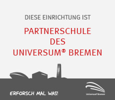 """Plakette fpr """"Partnerschule des Universum Bremen"""""""